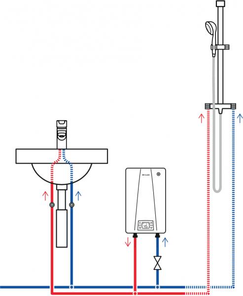 Пример схемы установки проточного водонагревателя Clage CEX