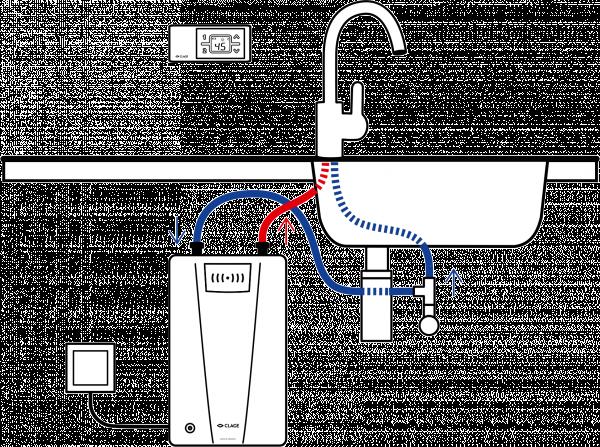 Пример схемы установки проточного водонагревателя Clage CFX-U
