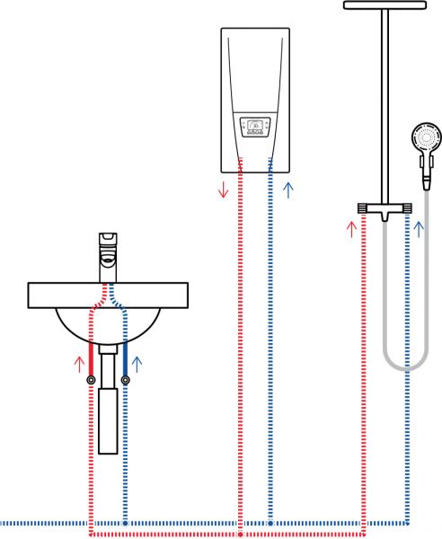 Пример схемы установки проточного водонагревателя Clage DSX