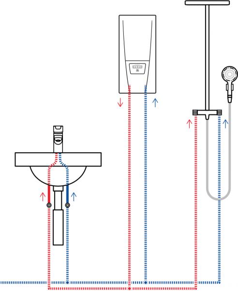 Пример схемы установки проточного водонагревателя Clage DCX