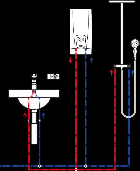 Пример схемы установки проточного водонагревателя Clage DSX Touch