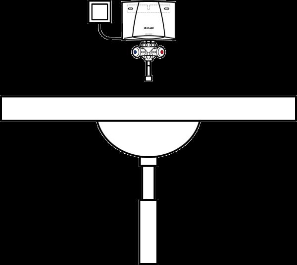 Пример схемы установки проточного водонагревателя Clage M-O