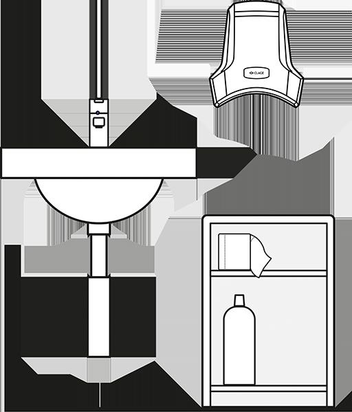 Пример схемы установки сушилки для рук Clage WHT