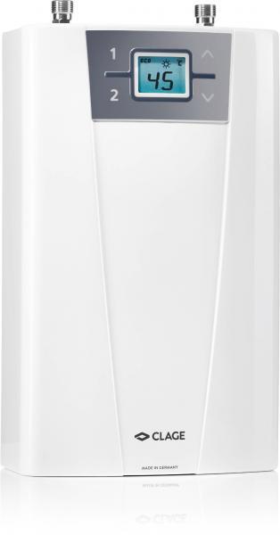 Проточный водонагреватель с электронной системой управления температурой, ЖК-дисплеем и выбором мощности подключения.
